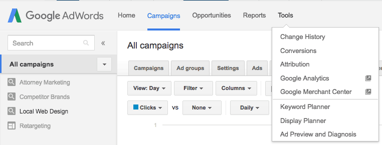 Check changes made to adwords account