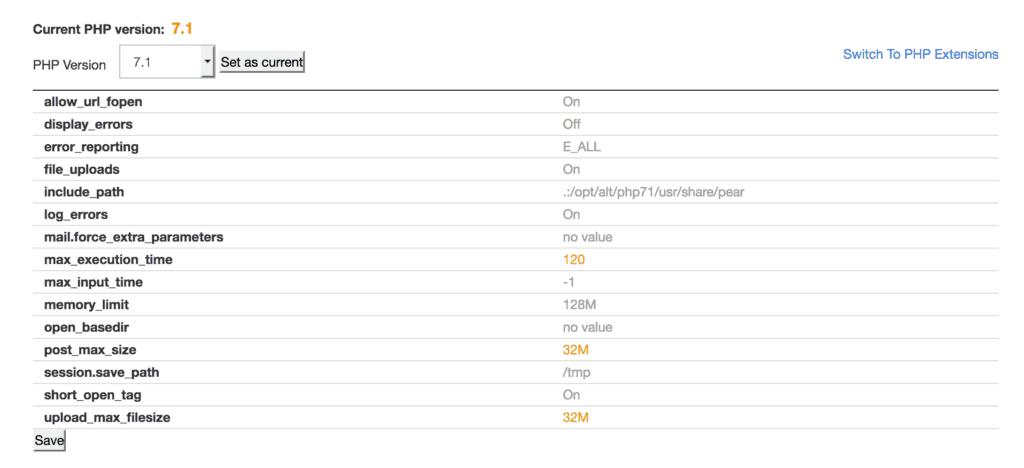 set file upload sizes in cpanel on godaddy for wordpress