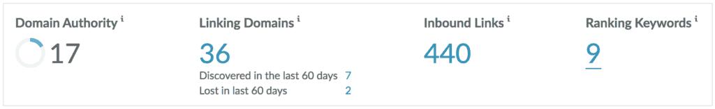 screenshot of moz metrics for contractor
