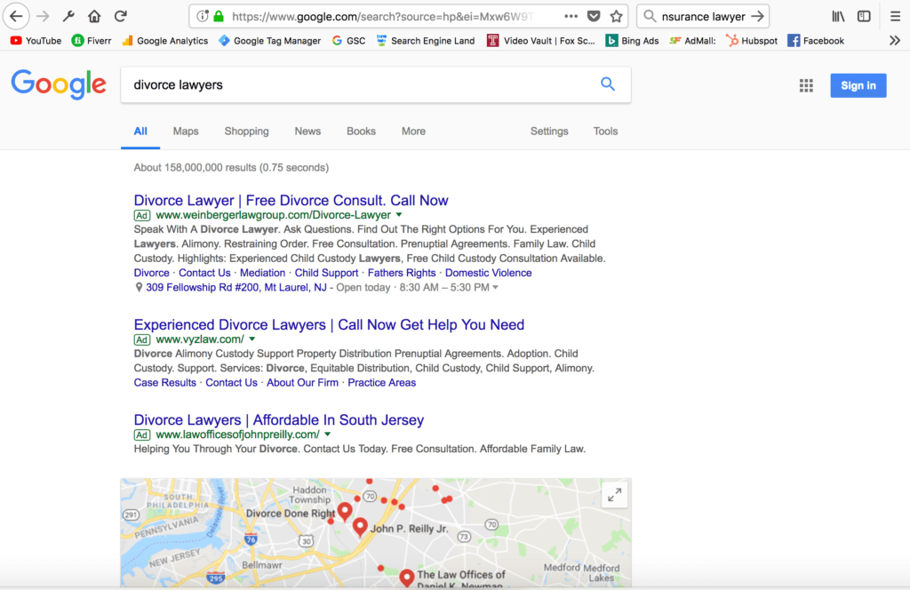 search results page with default local results