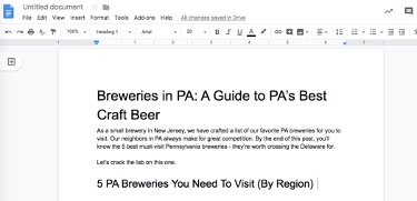 content for brewery seo