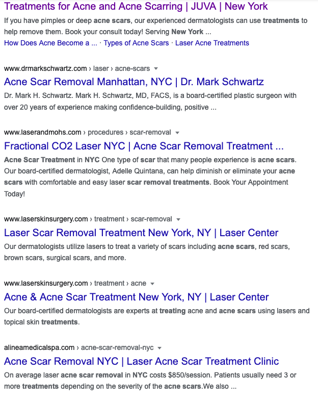 search optimized service page for cosmetic surgery