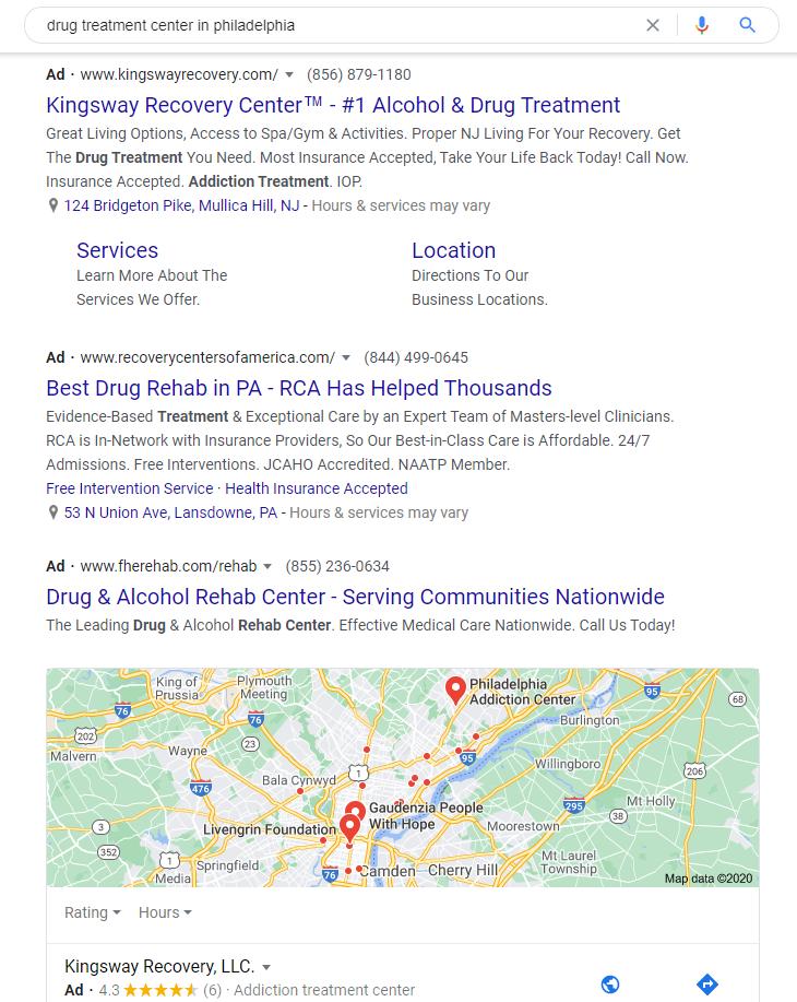 ppc service for addiction treatment