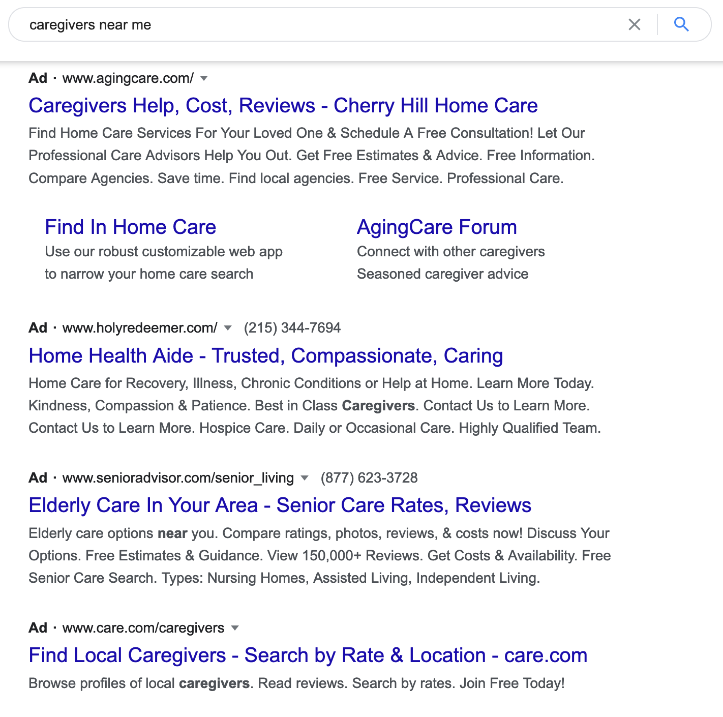ppc ads for home care agency